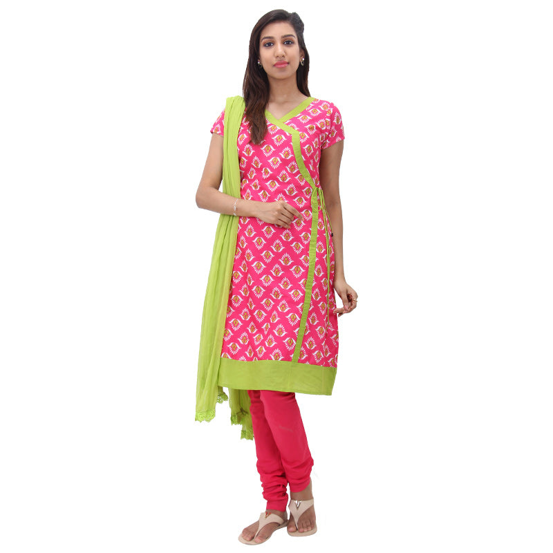 3Pce Set - Virtual Pink Printed Cotton Kurta With Chudi And Chiffon Dupatta