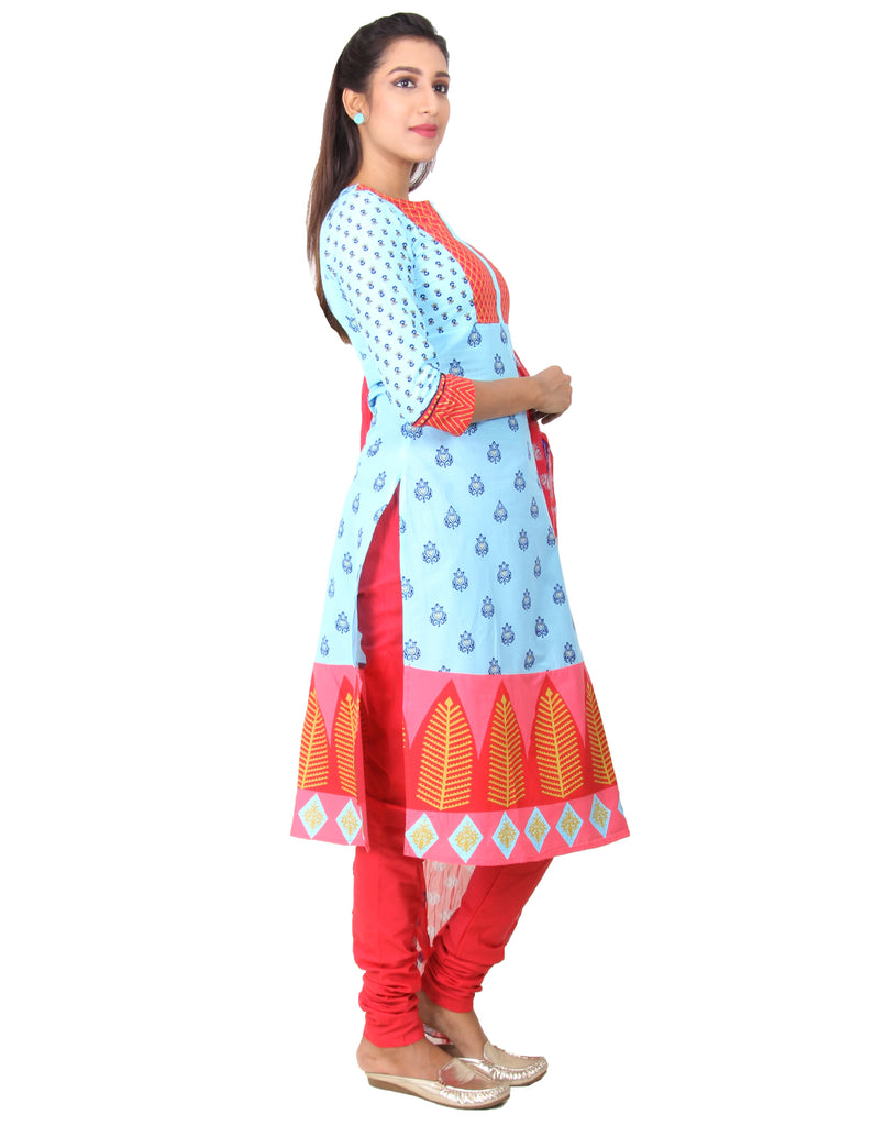 Petit Four Printed Cotton Salwar, Chudi and Chiffon Dupatta