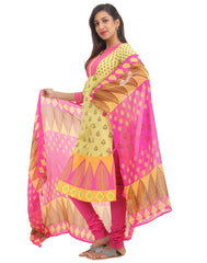 Muted Lime Printed Cotton Salwar, Chudi and Chiffon Dupatta