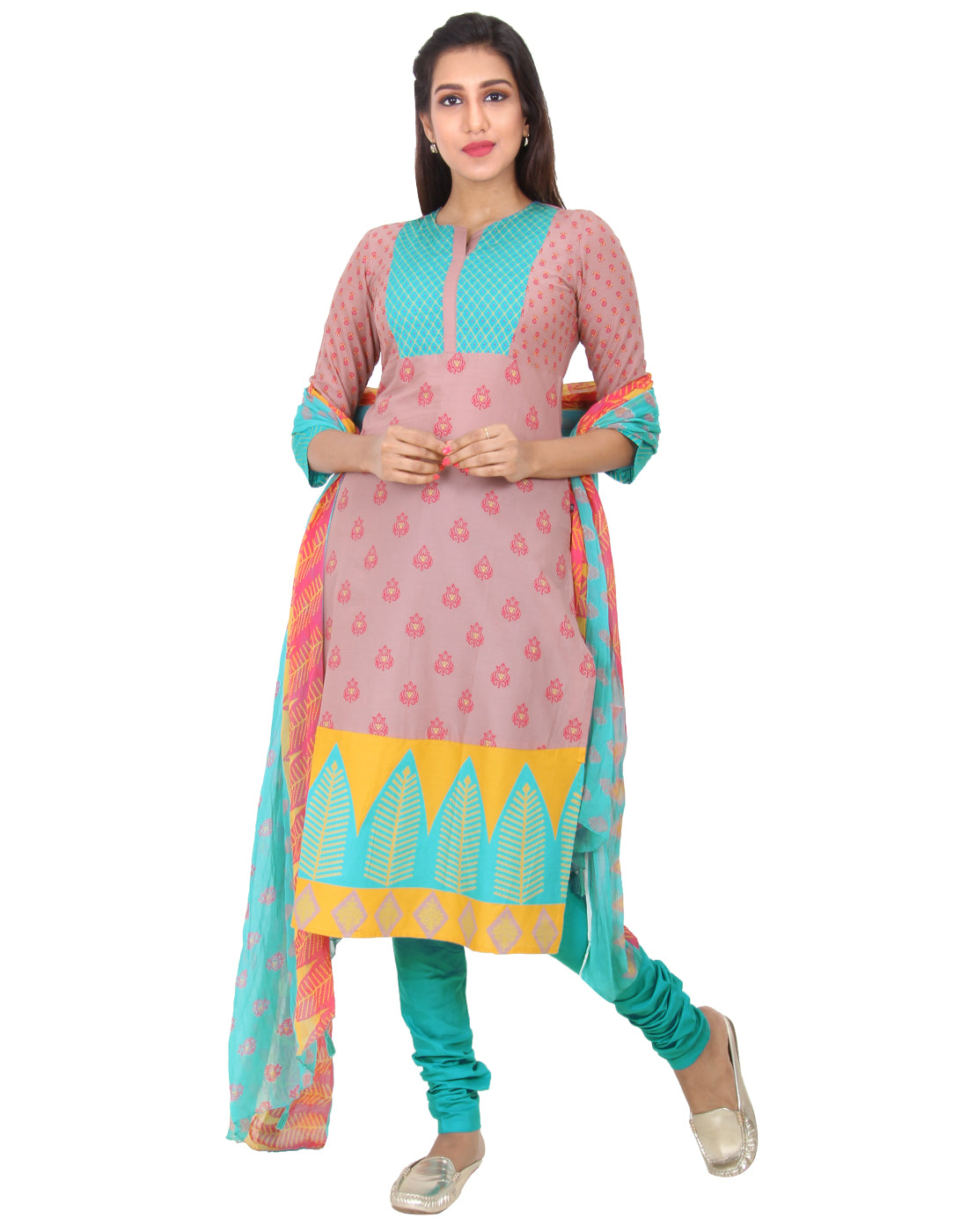 Cameo Rose Printed Cotton Salwar, Chudi and Chiffon Dupatta