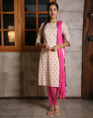 Sandshell Salwar Suit With Contrast Magenta Prints