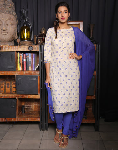 Sandshell Salwar Suit With Contrast Victoria Blue Prints