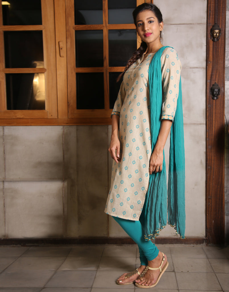 Sandshell Salwar Suit With Contrast Lake Blue Prints