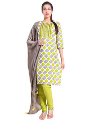 Cloud Cream 'N Green Cotton Salwar Suit