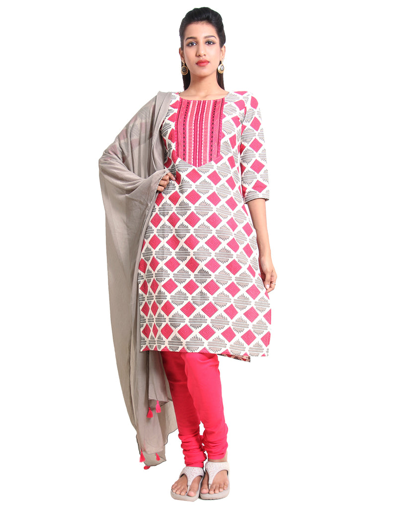 Cloud Cream 'N Pink Cotton Salwar Suit