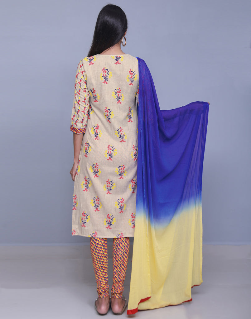 Beige 'N' Blue Cotton Jute Salwar Suit