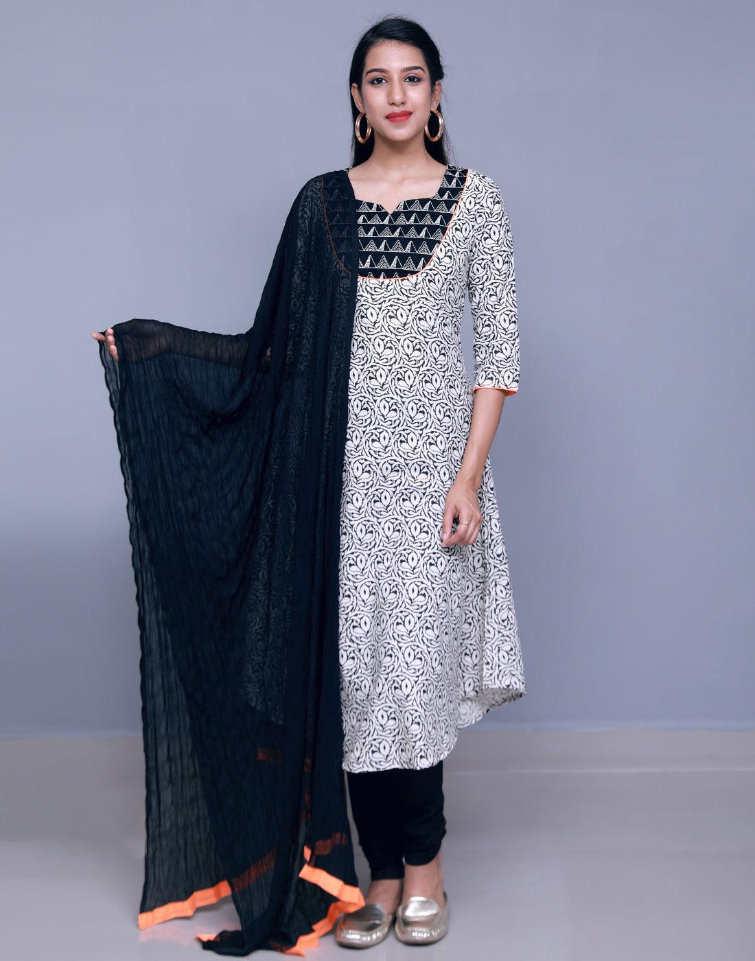 Black 'N' White Swan Anarkali Salwar Suit
