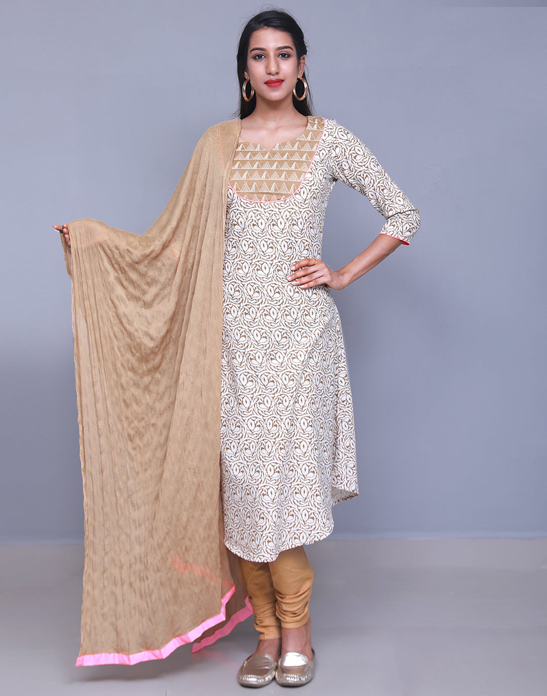 Brown 'N' White Swan Anarkali Salwar Suit