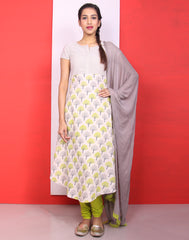 Beige 'N' Green Anarkali Salwar with Pants and Dupatta