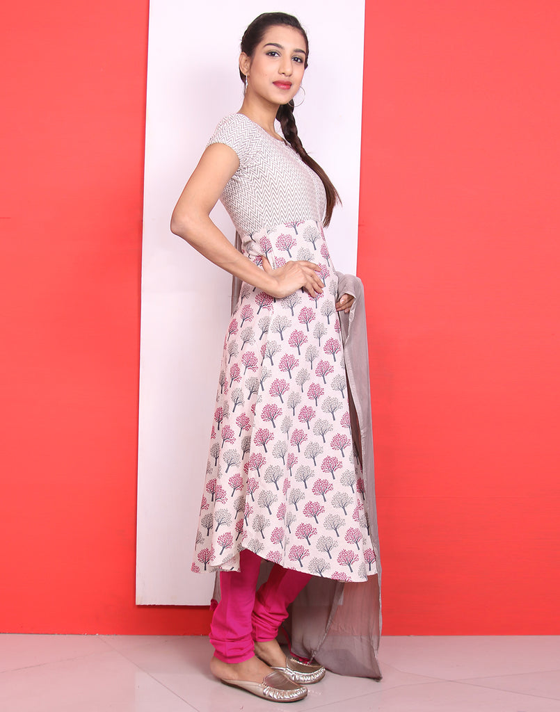 Beige 'N' Pink Anarkali Salwar with Pants and Dupatta