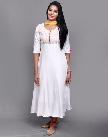 White Rayon Anarkali Salwar Suit
