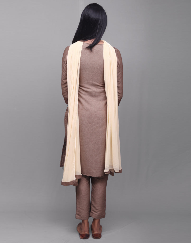 Amber Brown Rayon Dobby Salwar Suit
