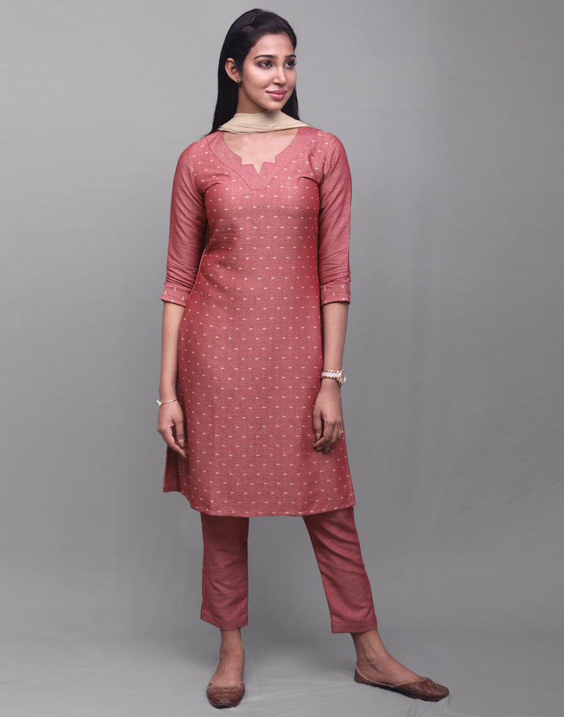Brick Red Rayon Dobby Salwar Suit