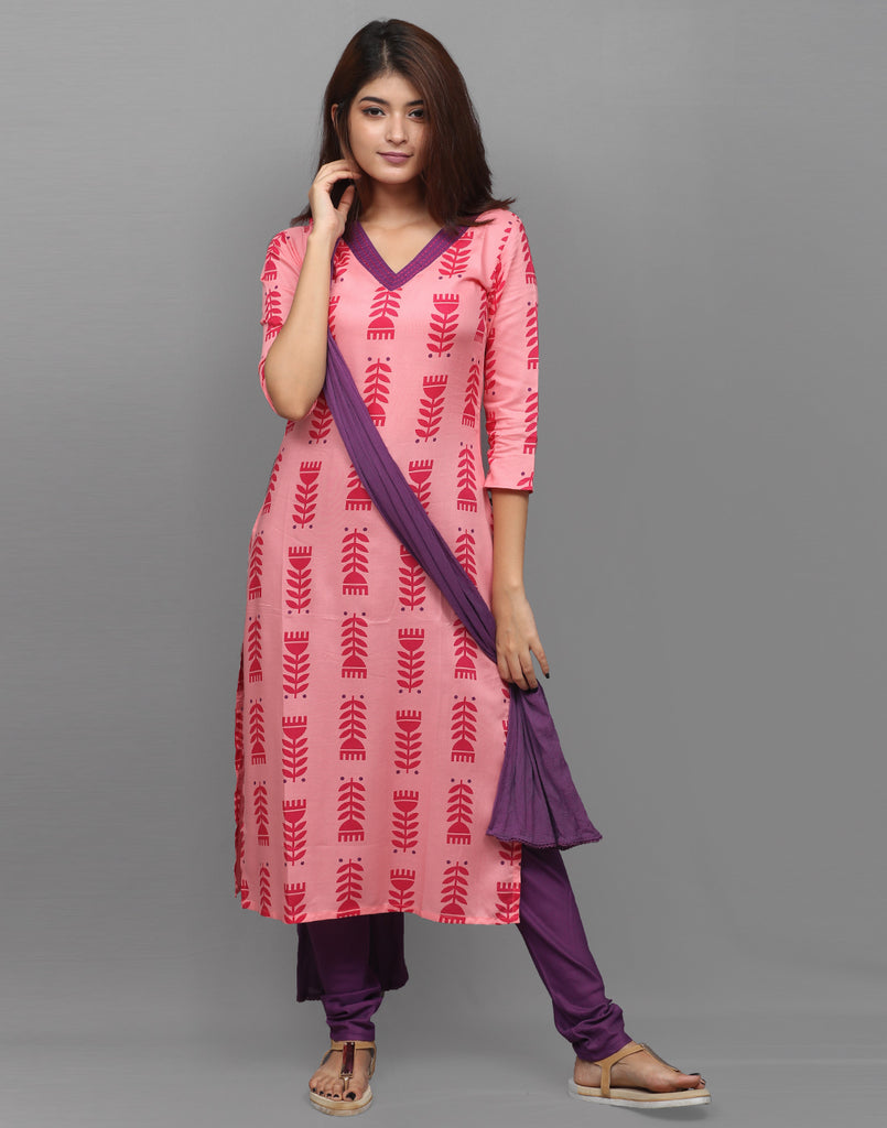 Rose Pink Printed Salwar Suit