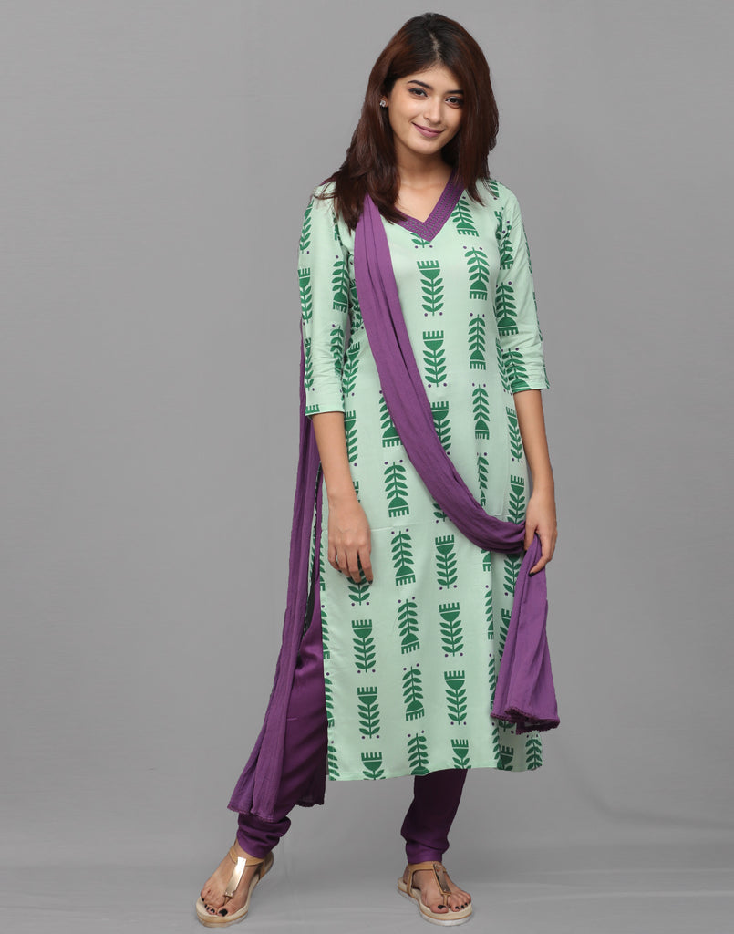 Forest Green Printed Salwar Suit
