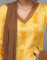 Yellow Printed Salwar Suit