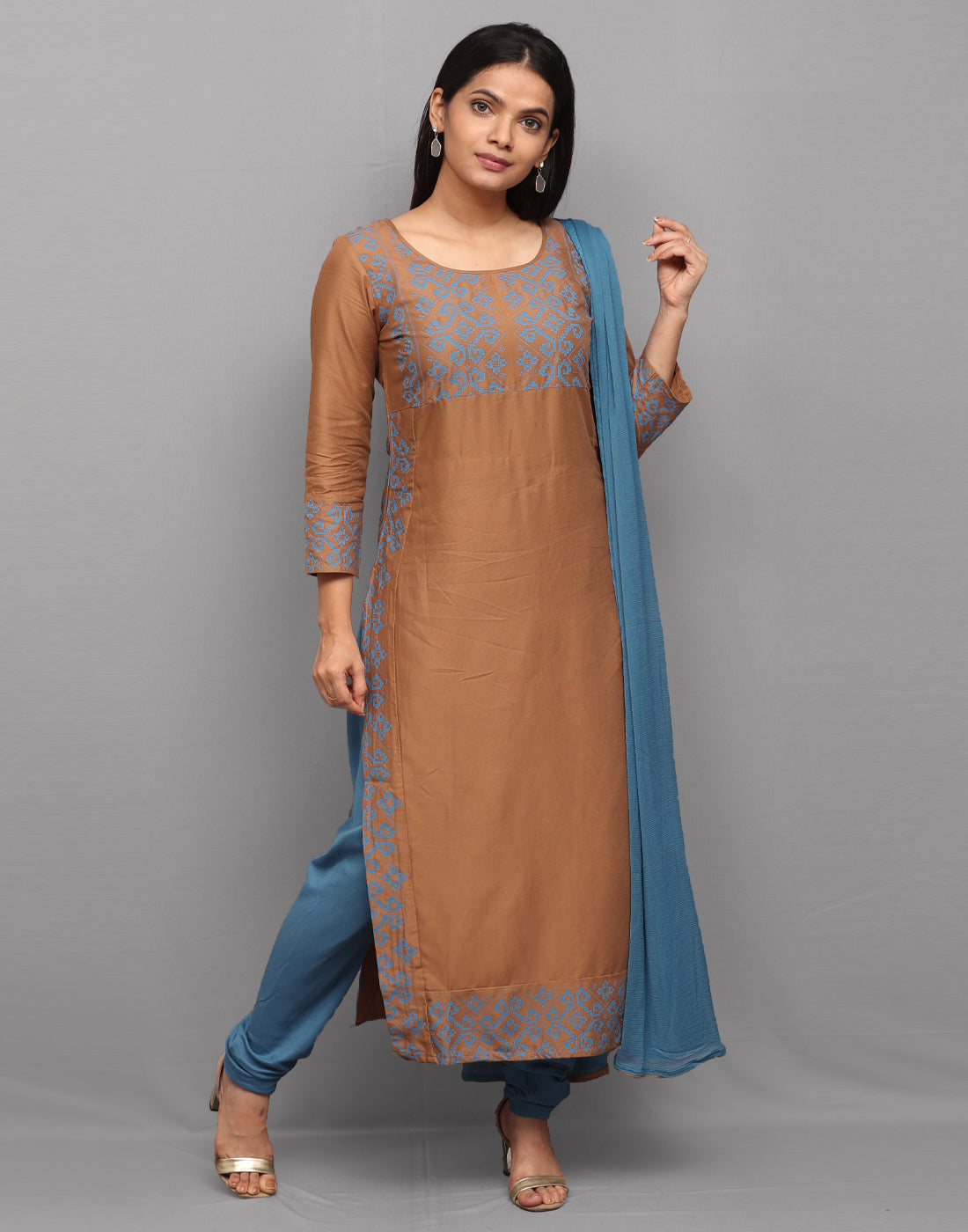 Brown 'n' Blue Printed Rayon Salwar Suit