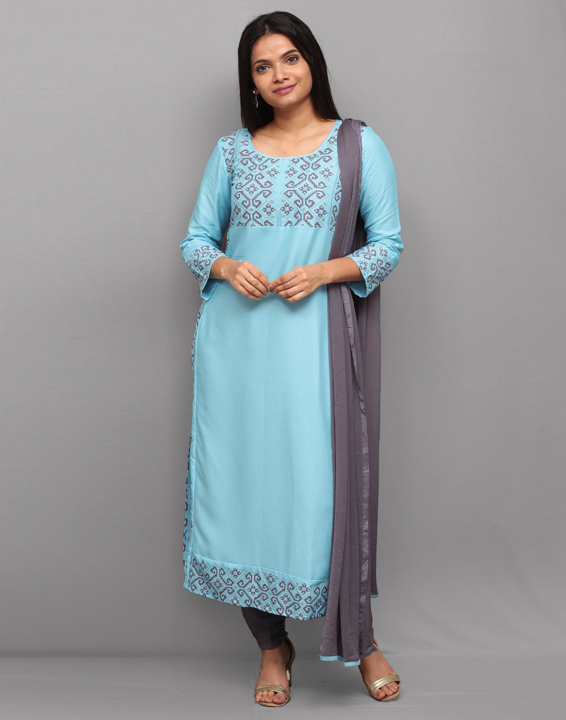 Blue 'n' Purple Printed Rayon Salwar Suit