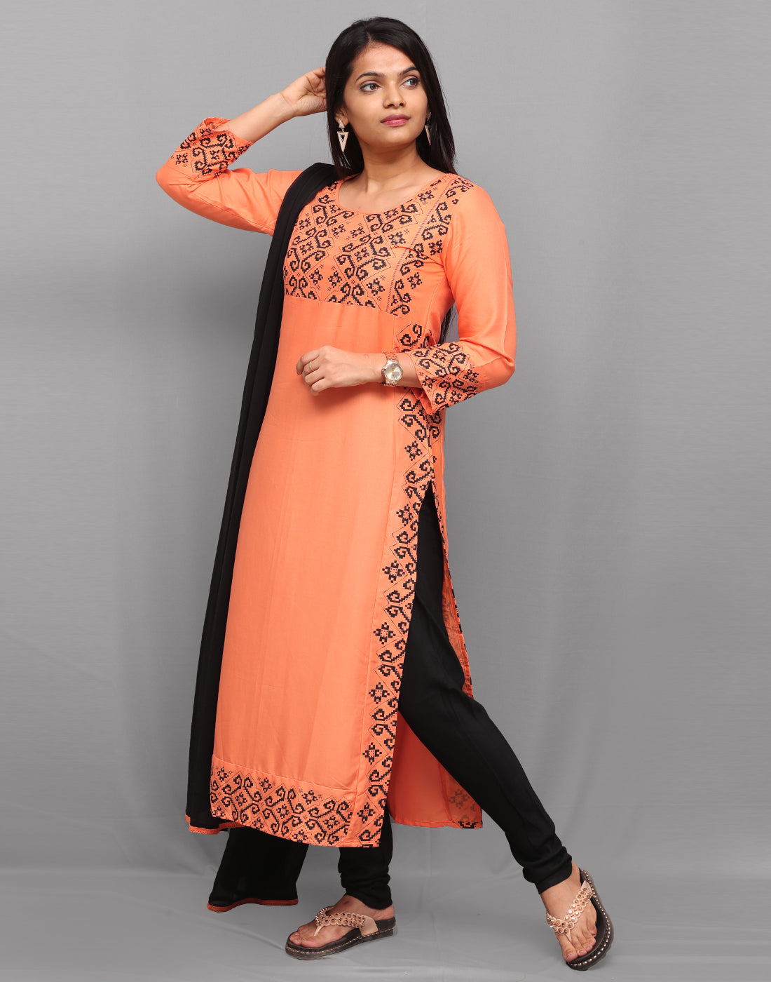 Orange 'n' Black Printed Rayon Salwar Suit