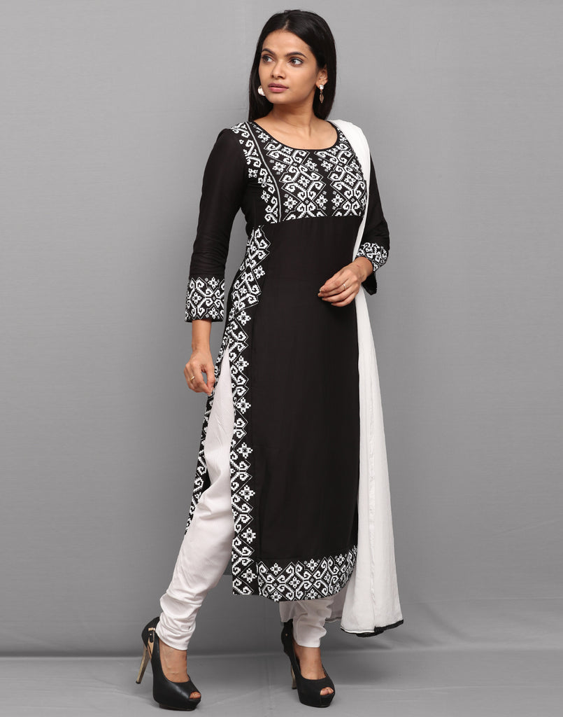 Black 'n' White Printed Rayon Salwar Suit