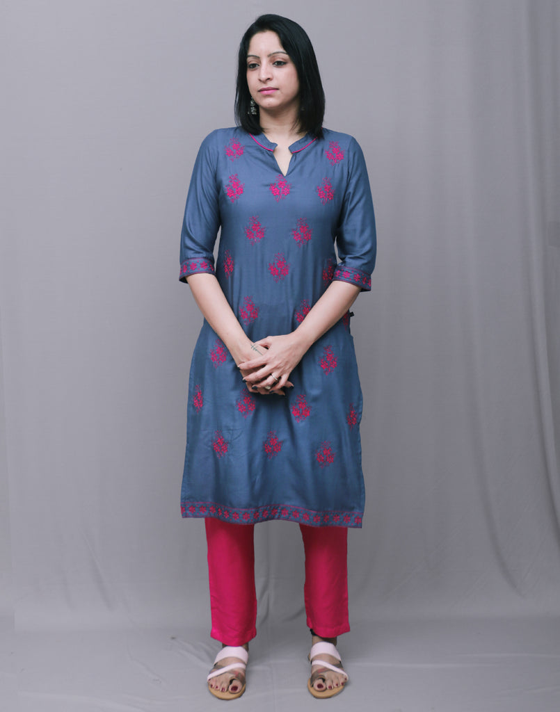 2Pcs Set - Gentian Blue With Pink Rayon Embroidered Kurta With Cigarette Pant