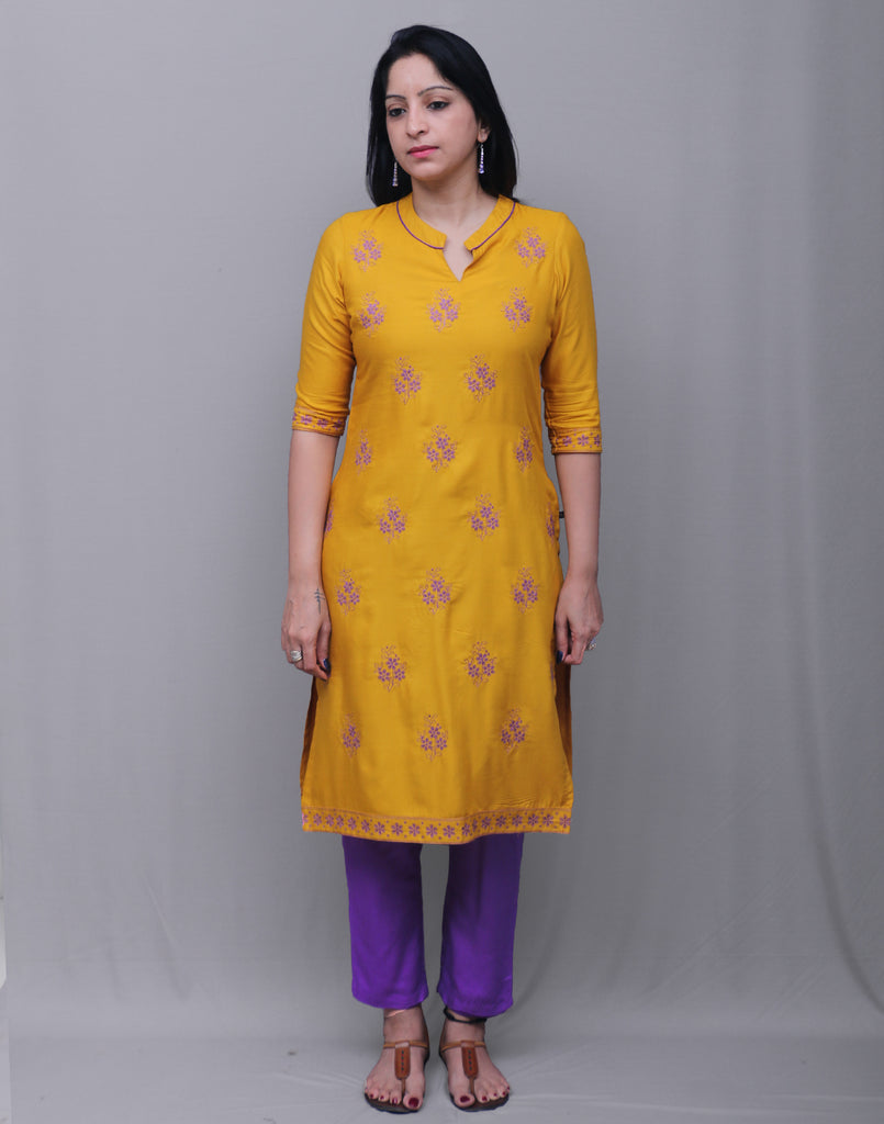 2Pcs Set - Mustard With Violet Rayon Embroidered Kurta With Cigarette Pant