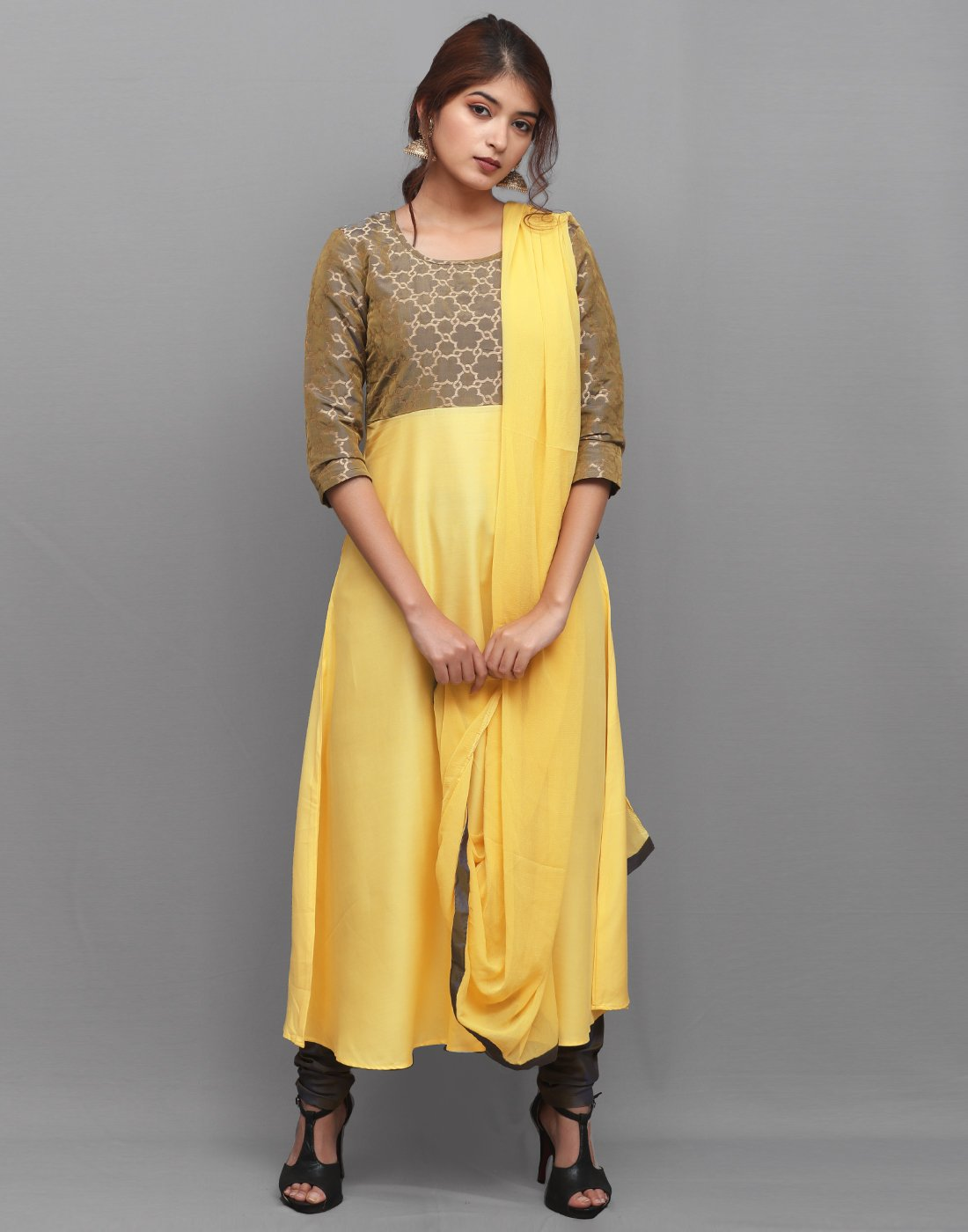 Yellow 'N' Grey Rayon Salwar Suit