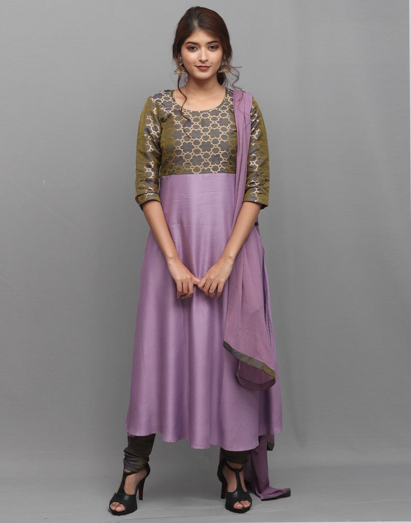 Purple 'N' Grey Rayon Salwar Suit