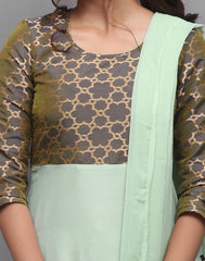 Ice Green 'N' Grey Rayon Salwar Suit