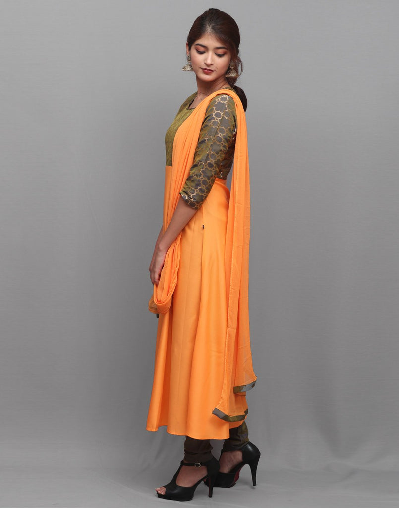 Orange 'N' Grey Rayon Salwar Suit
