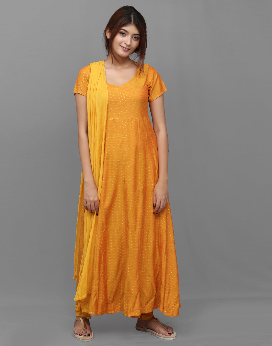 Golden Yellow Viscose Dobby Salwar Suit