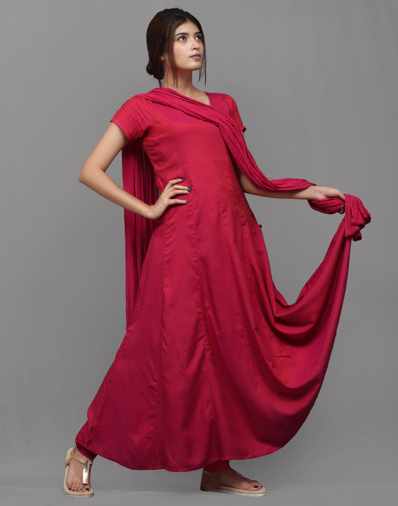 Fuscia Red Viscose Dobby Salwar Suit