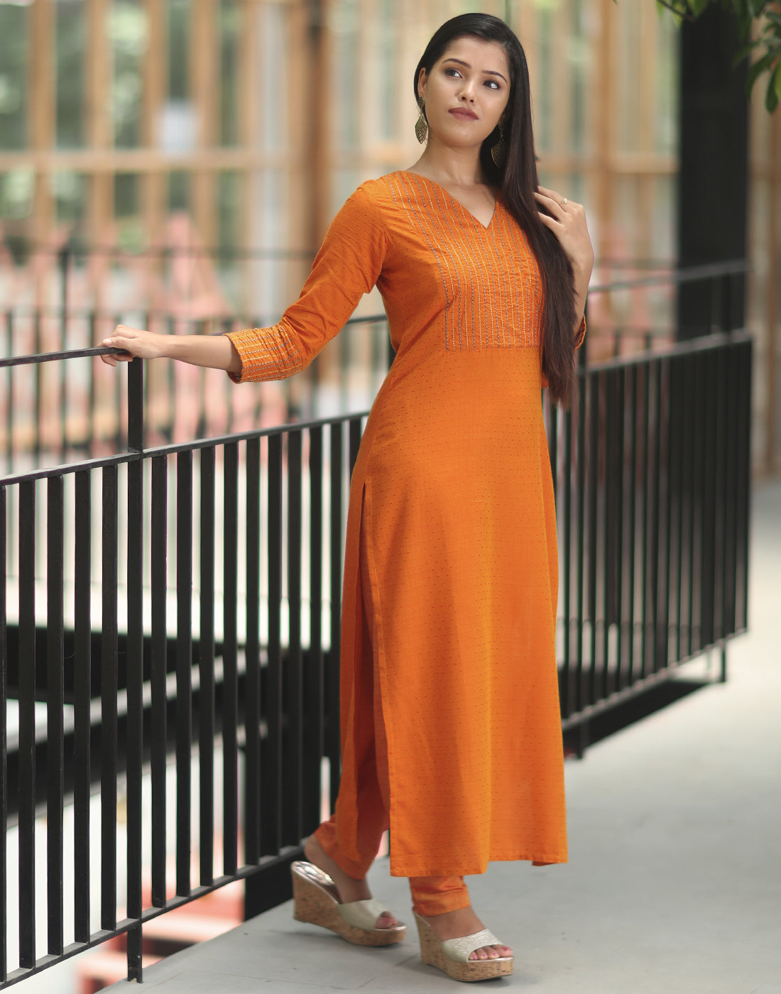 Saffron Embroidered Kurta n Bottom Set