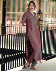 Brown Green Embroidered Kurta n Bottom Set