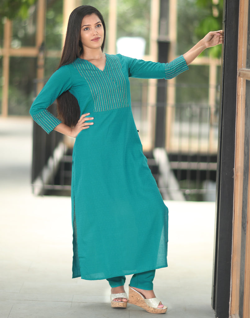 Sky Blue Embroidered Kurta n Bottom Set