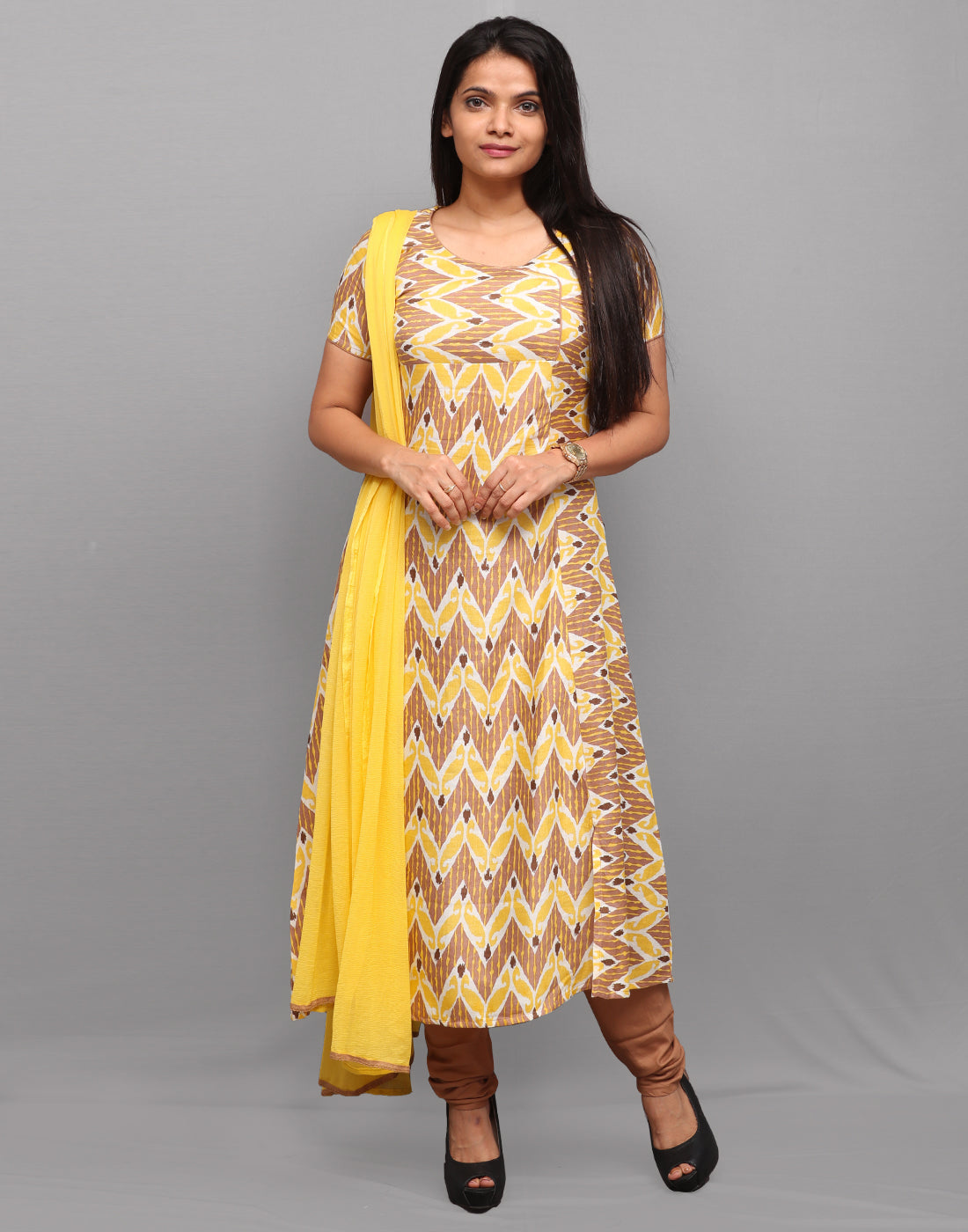 Yellow n Brown Printed Salwar Suit