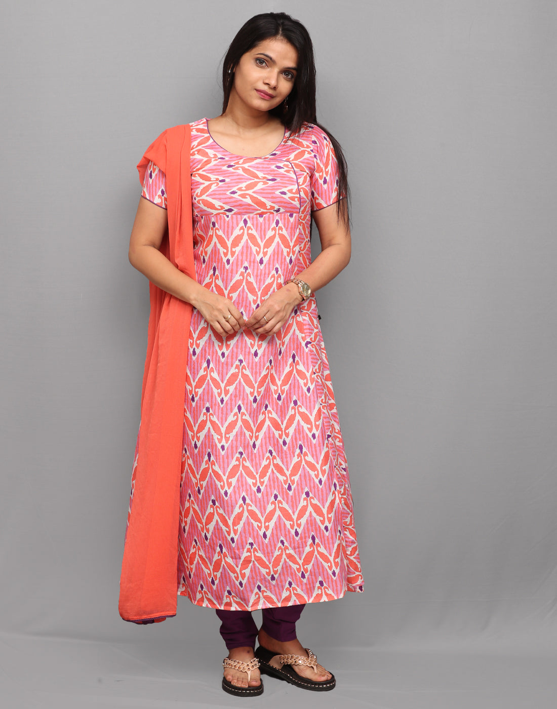 Pink n Orange Printed Salwar Suit