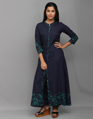 2 Pce Navy Blue Stylish Kurta and Pant Set