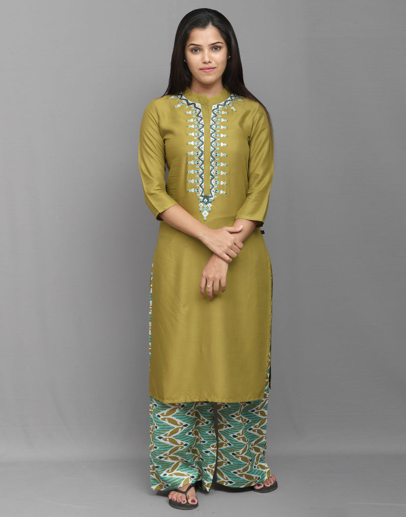 Deep Olive Green Stylish Kurta Palazzo Pant Set