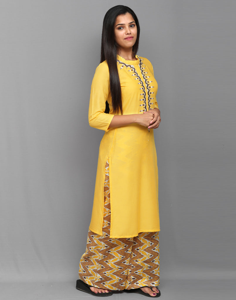 Pastel Yellow Stylish Kurta Palazzo Pant Set