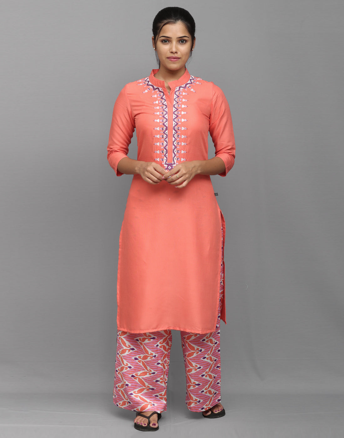 Living Coral Stylish Kurta Palazzo Pant Set