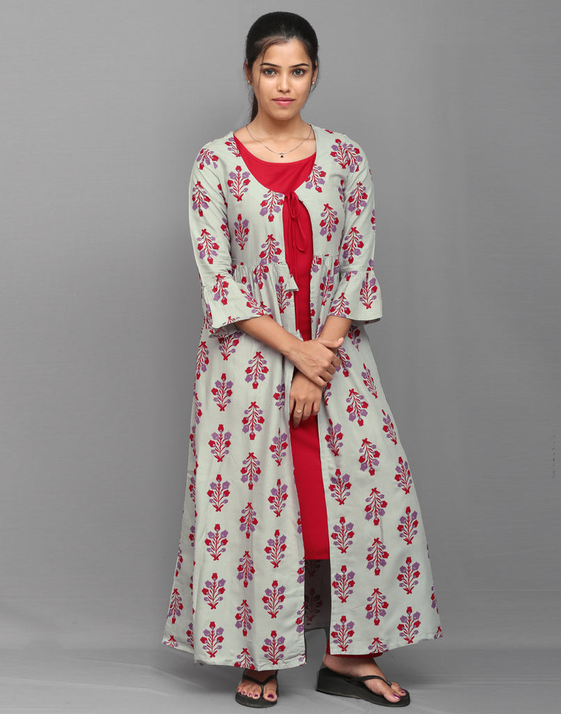 Printed Pastel Grey and Red Overcoat 3 Pce Suit
