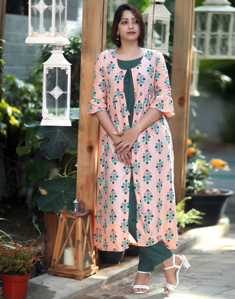 Printed Pastel Peach n Green Overcoat 3 Pce Suit