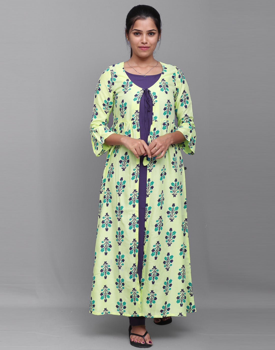 Printed Pastel Yellow n Purple Overcoat 3 Pce Suit