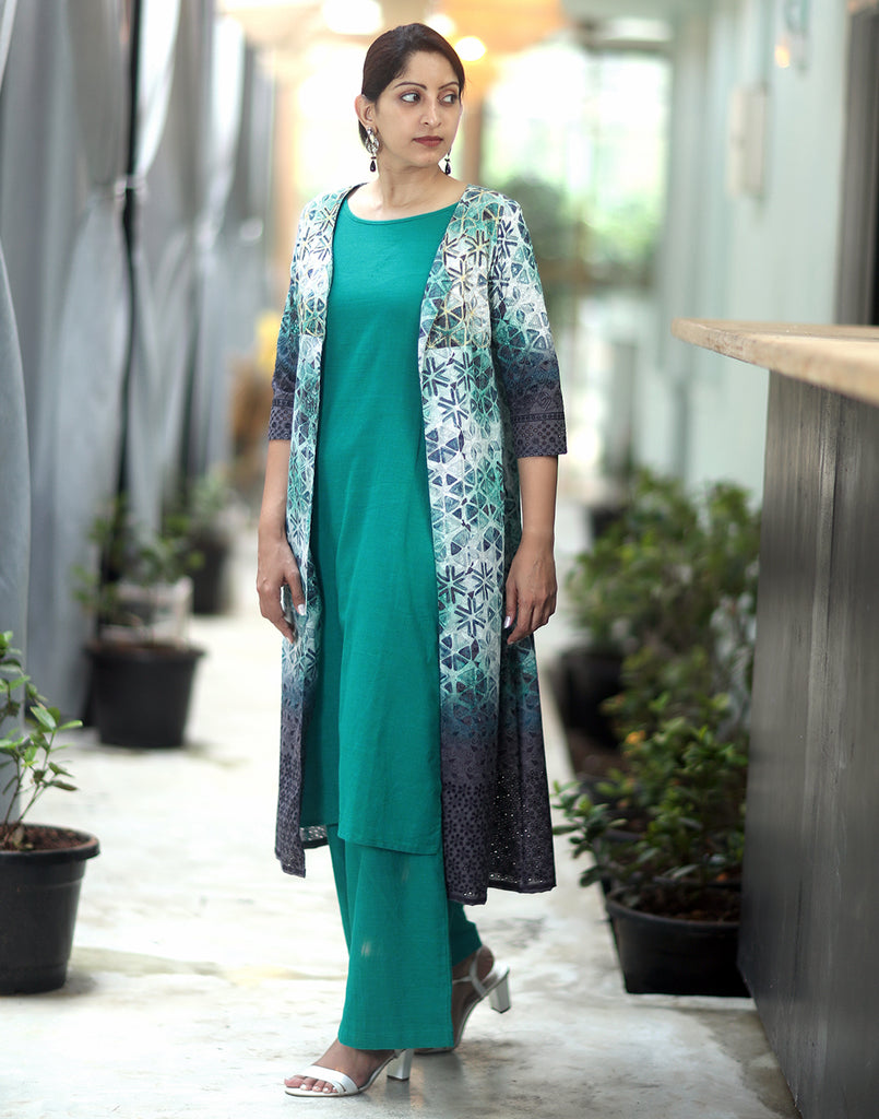 Teal Printed n Embroidered 3 Pce Suit