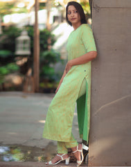 Mint Green n Gold Long Kurta Pant set