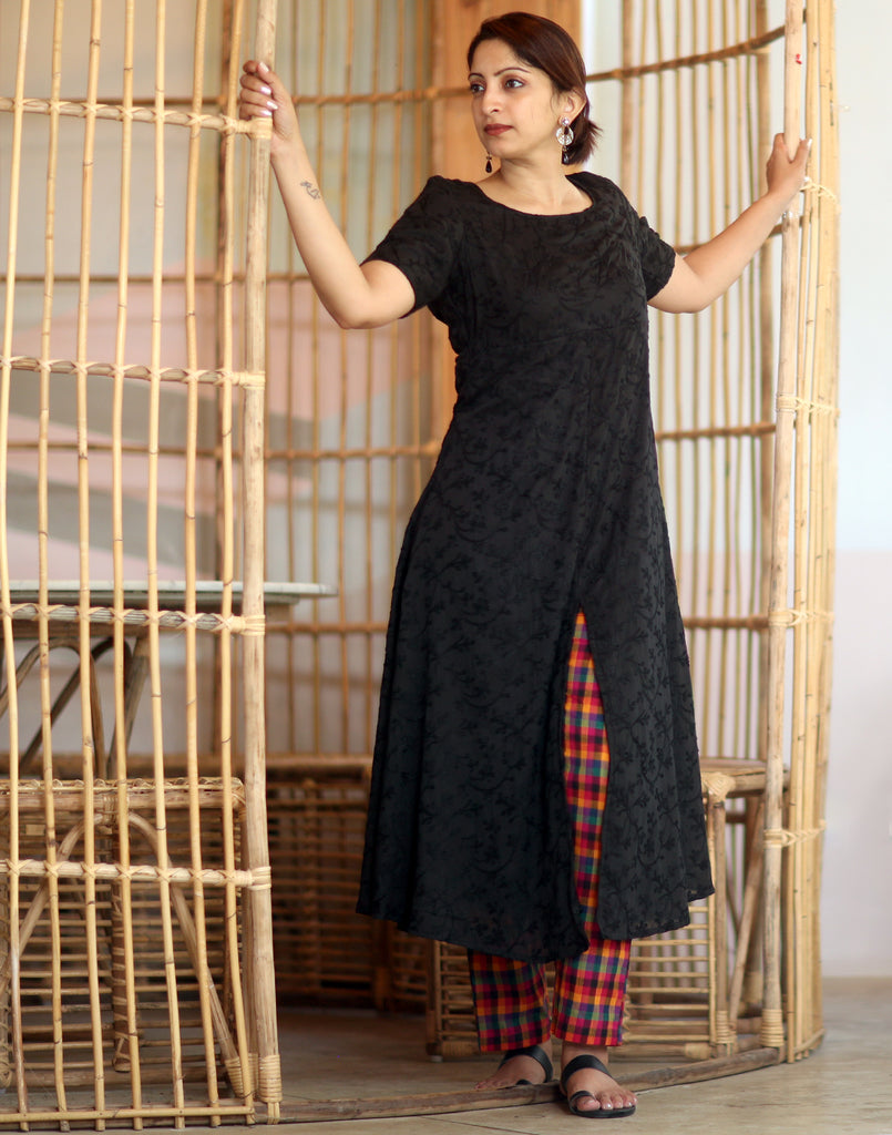 Black All over embroidered Anarkali with Checks Pants
