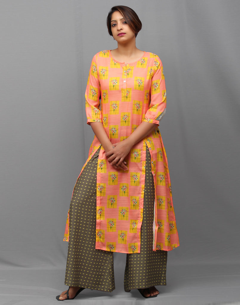 Buttoned Muslin Kurta and Palazzo set