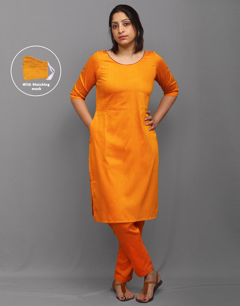 Cadmium Yellow Swiss Dots Dobby Kurta Set