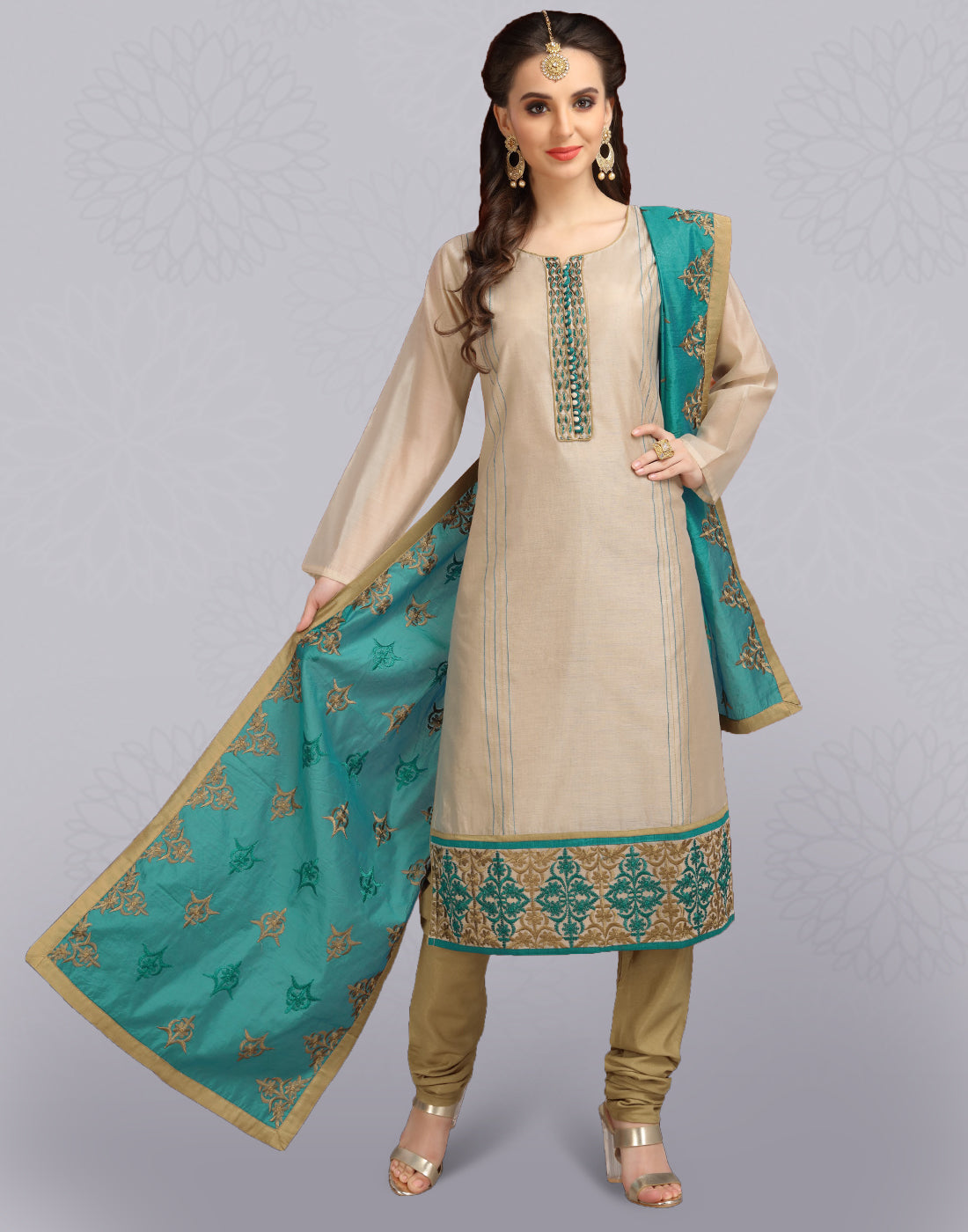 Oyster Grey 'N' Blue Chanderi Slawar Suit